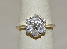 14KY Gold Diamond Flower Cluster ring. The ring