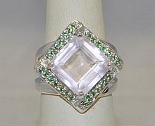 .925 Sterling Silver Tsavorite & Rose Quartz