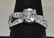 .925 Sterling Silver White Topaz ring. The ring
