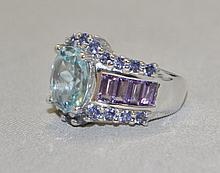 .925 Sterling Silver Blue topaz, amethyst and