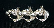 .925 Sterling Silver Three Horse brooch. The