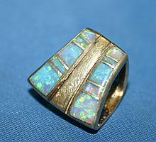 .925 Sterling Silver Created Opal Inlay Slide.