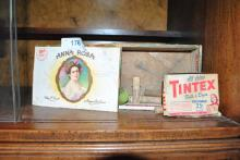 ANTIQUE CIGAR BOX W/ BOYE SEWING NEEDLES AND