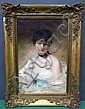CHEVALLIER TAYLER, ALBERT (BRITISH, 1862-1925): Oil on canvas. Portrait of a coquette. Signed, dated 1883 lower left., Albert Chevallier Tayler, Click for value