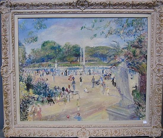 ADRIAN, PAUL ALLINSON (1890-1959): Oil on canvas. French park scene with lake and fountain.