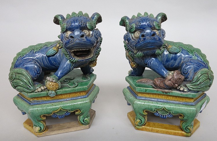 PAIR ANTIQUE CHINESE FOO LION FIGURES