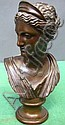 F. BARBEDIENNE REDUCTION BRONZE BUST: Neoclassical bust of a female figure or goddess wearing a diadem.