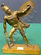 19TH C. BRONZE NEOCLASSICAL FIGURE OF A WARRIOR: Mounted on a yellow marble base.