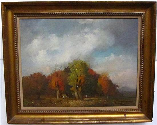MASON, FRANK HERBERT (American, NY, 1921-2009): Oil on canvas. Autumn landscape. Signed dated 1968 lower right.