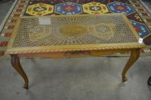 French coffee table w/ glass top