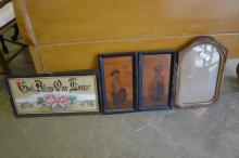 4 piece lot motto-patriotic frame-wooden folk art prints