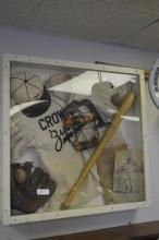 Framed vintage baseball items
