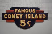 Porcelain Coney Island Sign 44 1/4