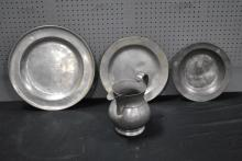 4 Piece Lot of Early Pewter