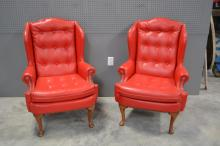 Vintage Lipstick Red Wing Chairs X2 44