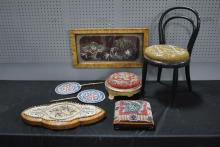 7 Piece Beaded Lot Trivet-Child's Chair-Fire Screen- 2 Stools- Framed Bead Work