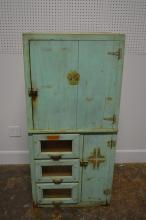 Folky Painted Cabinet w/ Seed Bin Drawers 56