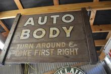 Wooden Auto Body Sign