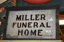 Lighted Miller Funeral Home Sign-painted on glass