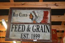 Red Cloud Feed & Grain Sign painted on glass