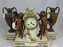 A Circa 19th Century French Clock Garniture, the w