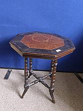 An Octagonal Side Table, with a burr walnut centre
