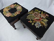 A Pair of Antique Mahogany Foot Stools, with flora