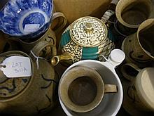 A pottery coffee set comprising coffee pot, milk j