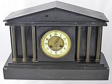 A Victorian Slate Marble Mantel Clock, having thre