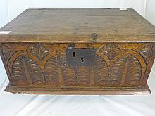 An 18th Century Bible Box, carved with foliate