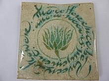 An Arts & Crafts Tile, the tile reads ' The