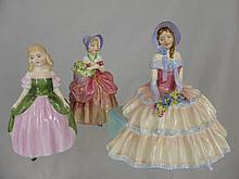Three Porcelain Royal Doulton Figures, including