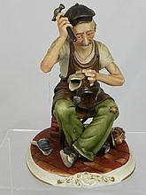 Capo di Monte Figure of a Cobbler by M Lozi,