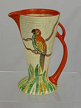 Crown Devon Style Art Deco Jug, depicting a Parrot