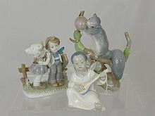 Porcelain Lladro Figures, including a squirrel, a