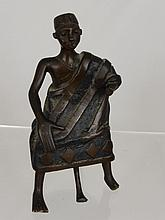 Bronze African Tribal Figure, seated on a stool,