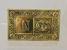 A German Art Nouveau Brass Desk Sign, etched IN