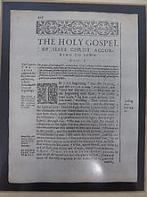 Original Bible Leaf from Various Early English