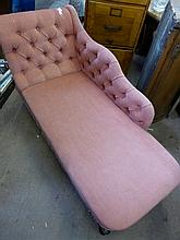 Child's Chaise Longue, pink upholstery with