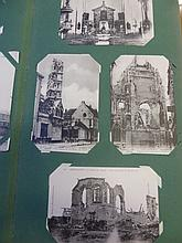 An album of vintage black and white French postcards depicting damage to cathedrals