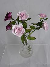 Five Porcelain Rose Stems