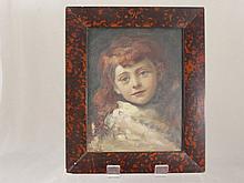 A Hand Painted Portrait on Panel, the portrait dep