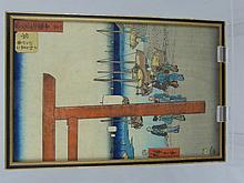 Two Antique Coloured Japanese Wood Cut Prints, dep