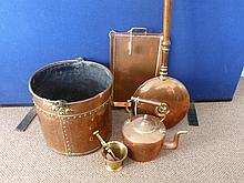 Five copper items including a coal bucket, a bed w