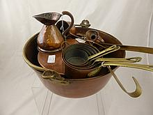 A Vintage Copper Jam Pan, together with three copp