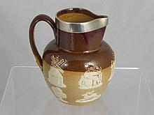 A Silver Rimmed Royal Doulton Lambeth Ware Harvest