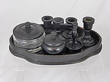 A Gentleman's Ebony Dressing Table Set, comprising