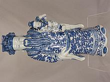 Two Chinese Blue and White Porcelain Figures of Wi