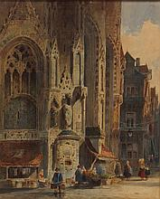 Salomon Leonardus Verveer, Dutch, 1813-1876, watercolor, Street Scene with cathedral and merchants, signed lower left, 12