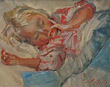 Paul Rafferty, British, b 1965, oil on canvas, Charlotte Asleep, 15 1/4